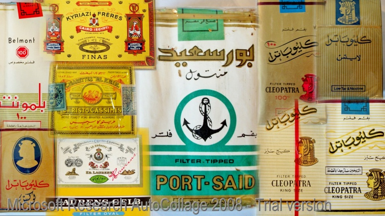 A collage of my Egyptian cigarette packs.